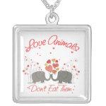Love Animals Dont Eat Them Square Pendant Necklace