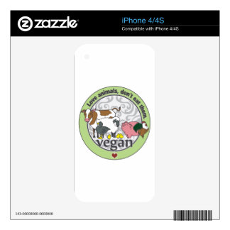 Love Animals Dont Eat Them Vegan Decal For iPhone 4