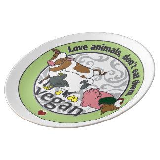 Love Animals Dont Eat Them Vegan Dinner Plate