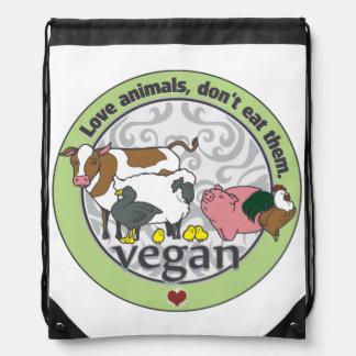 Love Animals Dont Eat Them Vegan Drawstring Backpack