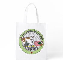 Love Animals Dont Eat Them Vegan Grocery Bag