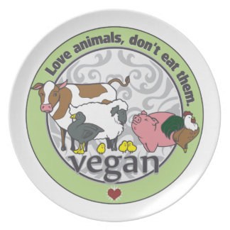 Love Animals Dont Eat Them Vegan Party Plates