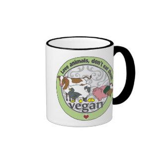 Love Animals Dont Eat Them Vegan Ringer Mug
