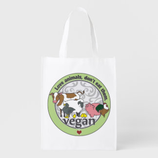 Love Animals Dont Eat Them Vegan Grocery Bags