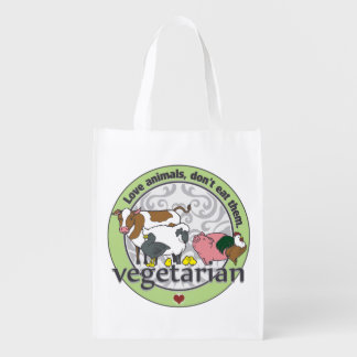 Love Animals Dont Eat Them Vegetarian Grocery Bag