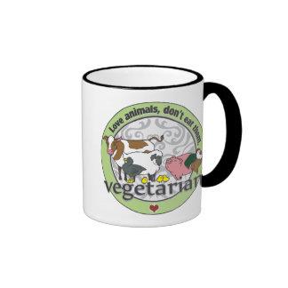Love Animals Dont Eat Them Vegetarian Ringer Mug