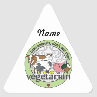 Love Animals Dont Eat Them Vegetarian Triangle Sticker