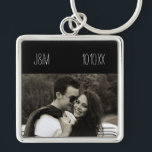 "Love Anniversary Couple Photo Date Initials Keychain<br><div class=""desc"">This keychain is deigned with a black border where you can customize with your own initials and date,  and can also be personalized with your own photo. Makes a great gift for a birthday or anniversary.</div>"