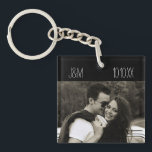"Love Anniversary Couple Photo Date Initials Keychain<br><div class=""desc"">This keychain is designed for a photo of your choice on the bottom,  a set of initials in the upper left hand corner,  and a date for the upper right! Makes a great anniversary gift,  a save the date,  or a keepsake for your girlfriend or boyfriend.</div>"