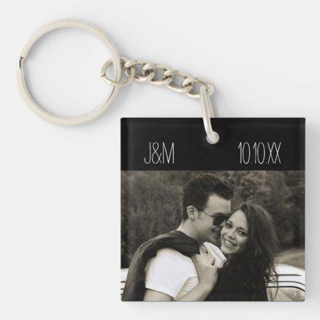 Love Anniversary Couple Photo Date Initials Keychain