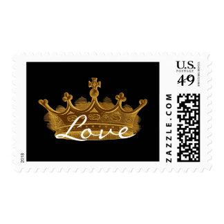 LOVE Antique Gold Vintage Crown Black Background Postage Stamp