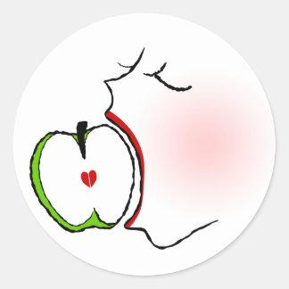 Love Apple Classic Round Sticker