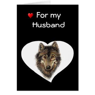Love & Appreciate Husband  Wolf Valentine Greeting Card