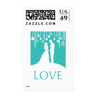 Love - aqua blue bride & groom silhouettes stamp