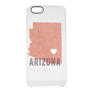 Love Arizona Topographic Coral Map and White Heart Clear iPhone 6/6S Case
