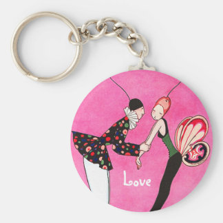 Love. Art Deco Valentine's Day Gift Keychains