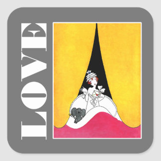 Love. Art Deco Valentine's Day Gift Stickers
