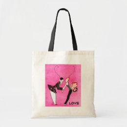 Love. Art Deco Valentine's Day Gift Tote Bags