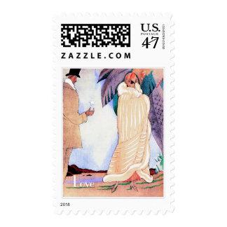 Love. Art Deco Valentine's Day Postage Stamps