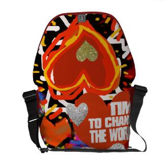 love, art, heart messenger bag