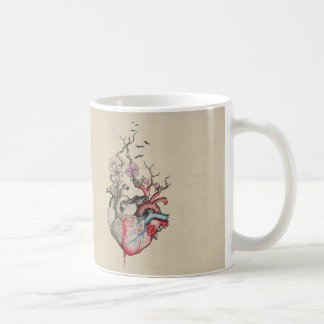 Love art merged anatomical hearts with flowers coffee mug