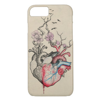 Love art merged anatomical hearts with flowers iPhone 7 case