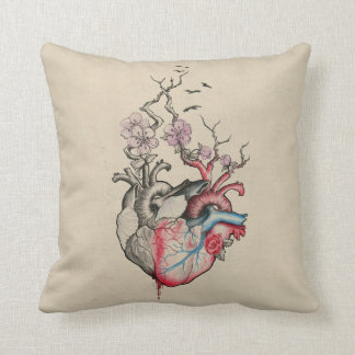 Love art merged anatomical hearts with flowers pillow