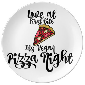 love at first Bite- its Vegan Pizza night! plate