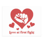 Love at First Fight Valentine's Day Funny Post Card