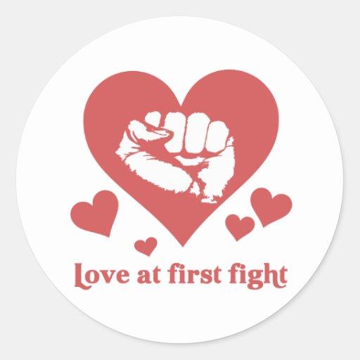 Love at First Fight Valentine's Day Funny Round Sticker