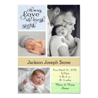 Love at First Sight Colorful Collage - 3x5 Boy Card