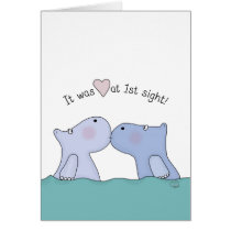 Love at First Sight Hippos Card