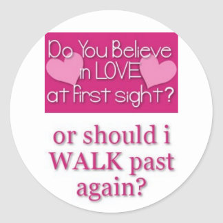 love at first site classic round sticker