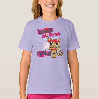 Love at First Spike Volleyball Cat T-shirt