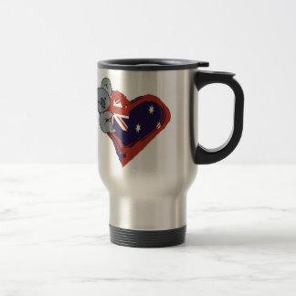 Love Australia - Koala Hugging Flag 15 Oz Stainless Steel Travel Mug