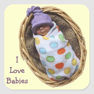 Love Babies: Clay Baby Sculpture in Basket Square Sticker