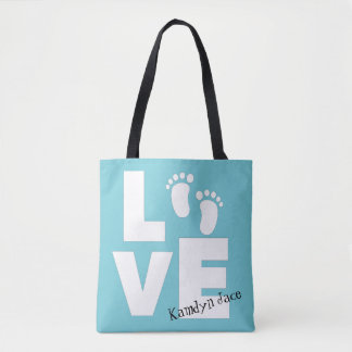 Love Baby Footprint Blue Personalized Tote Bag