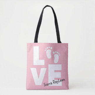 Love Baby Footprint Pink Personalized Tote Bag