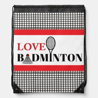 Love Badminton Drawstring Backpack