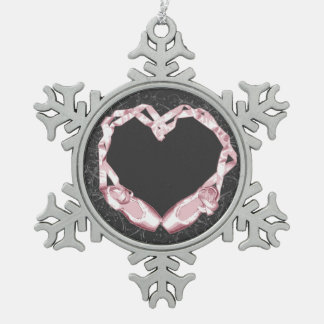 Love Ballet Snowflake Pewter Christmas Ornament