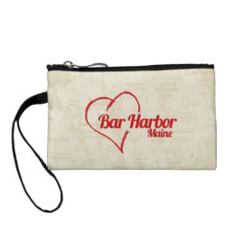 Love Bar Harbor, Maine with faded map in back. Coin Wallet