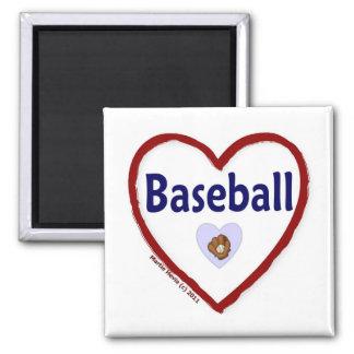 Love Baseball 2 Inch Square Magnet