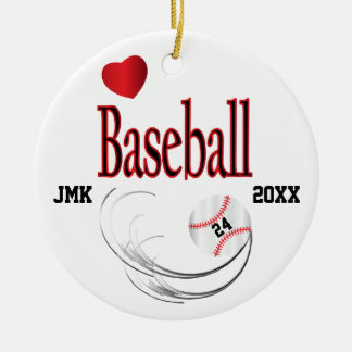 Love Baseball Ceramic Ornament