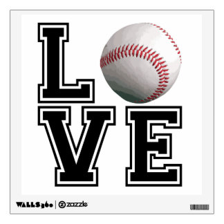 Love Baseball College Style Wall Decal