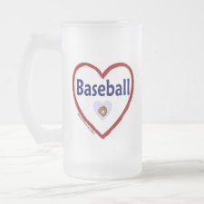 Love Baseball Frosted Glass Beer Mug
