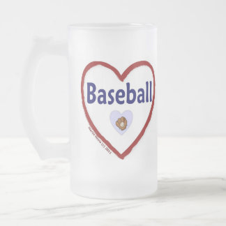Love Baseball Frosted Glass Beer Mug