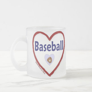 Love Baseball Frosted Glass Coffee Mug