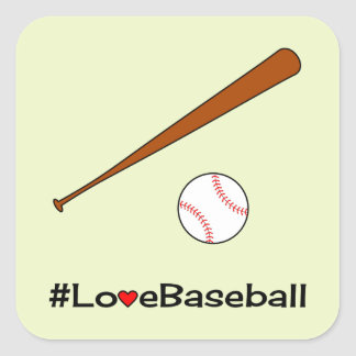 Love baseball hashtag slogan sports square sticker