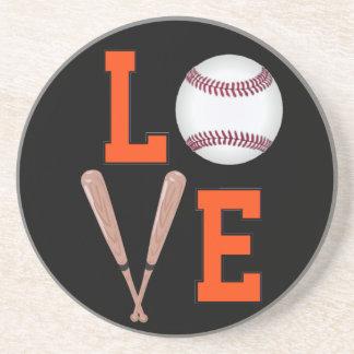Love Baseball (Orange & Black) Drink Coaster
