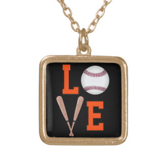 Love Baseball (Orange & Black) Gold Plated Necklace